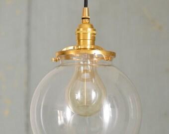 Chic Glass Pendant, Handcrafted Pendant, Pendant Lighting, Brass Lighting, Modern Chic