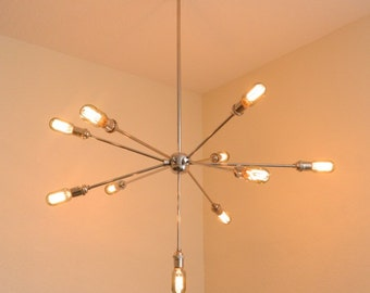 Handmade Modern Polished Nickel Sputnik Chandelier - Lighting