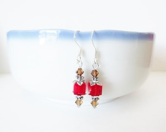 Swarovski Crystal Earrings - Red & Brown Cube Bead Earrings - Sterling Silver Beaded Dangle Earrings - Handmade Jewelry Gifts for Her