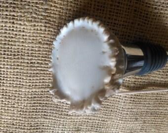 """large wine stopper, whole rosette/burr deer antler light colored bottle stopper 2"""" to 2-1/2"""" across, circular"""