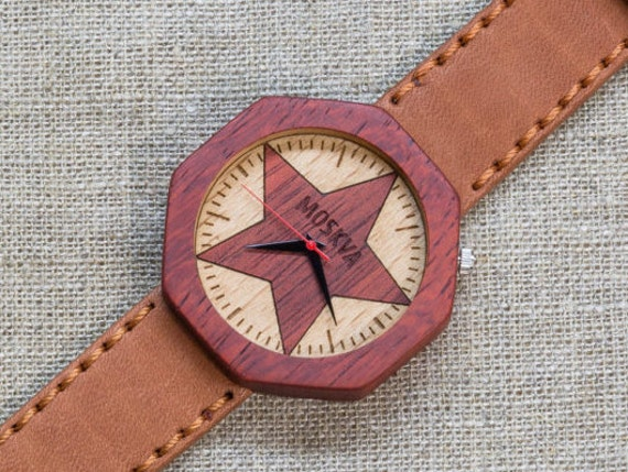 African Padauk minimal wood watch , Majestic Watch, Terracotta  Vintage Genuine Leather strap + Any Engraving / Gift Box. Anniversary  gift