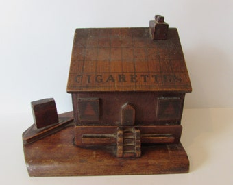 A Rare Antique Folk Art Handmade Wooden CigaretteI Box House - Old Novelty Item.  /MEMsArtShop
