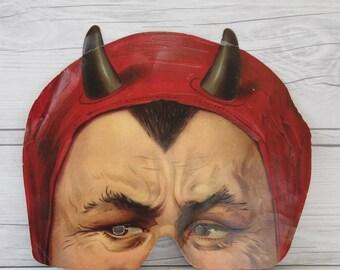 Vintage Paper Devil Halloween Mask - H&P England from Madame Tussauds Collection, Vintage Halloween Mask