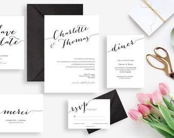 Printable wedding stationery kit: wedding invitation + rsvp, save the date, diner invitation, thank you card - Black and white Minimal Chic