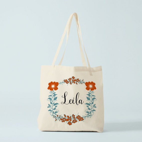 Tote Bag Leila for Boho Wedding, personnalized Flowers wreath, garland of flowers, gift for wedding guests, bridesmaid gift, custom tote.