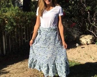 Sundance, wrap skirt, cotton skirt, prairie skirt, country, skirt, 6, size 6, blue