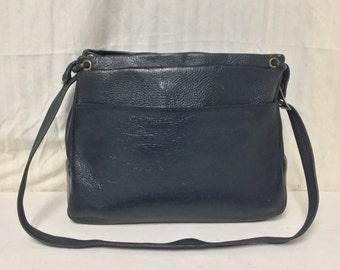Justin, Cowhide Leather Purse ,bag,Blue leather,Vintage, Shoulder Bag