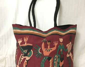 XL Large Canvas Tote, Kokopelli Dancers, Shoulder Bag, Red ,Green ,Black, Purse,bag