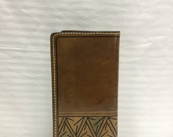 Free Ship Brown Tooled Leather Wallet Organizer