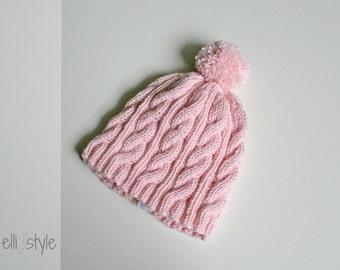 "baby hat ""Finn"" with bobble, newborn hat, baby girl hat, baby boy hat"