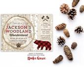lumberjack birthday invitations, bear cub party invitation, digital file, Rustic birthday invites, 7th 8th 9th 10th birthday, buffalo plaid