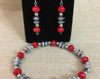 Faceted Red Glass & Silver Iris Hematite Stretch Bracelet and Dangle Earrings