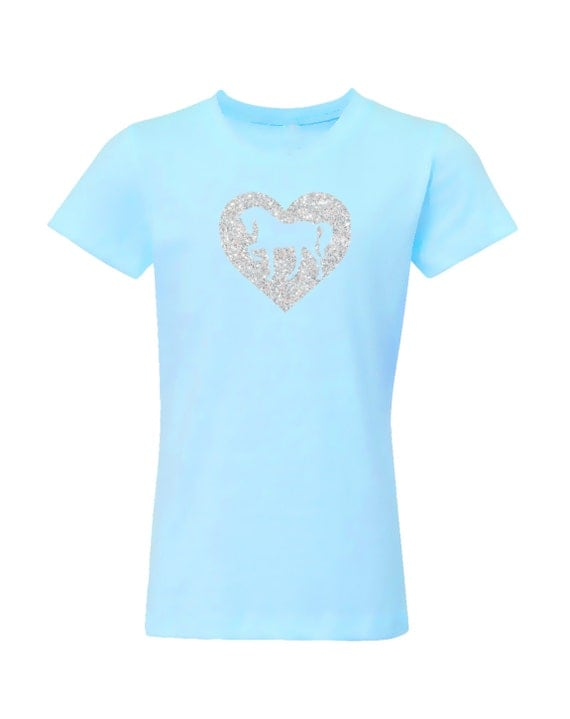 Horse Shirt for Girls- Light Turquoise, Sparkle Heart Pony Short Sleeve Tee, Equestrian Clothing, Riding Shirt, Horse Clothes