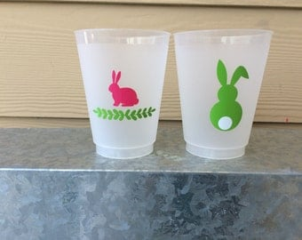 16oz Frosted Flex Shatterproof Cups; Easter Bunny Cups (reusable)