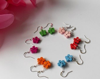 Colourful Wooden Earrings, Small Flower Buttons, Cute Gifts for Girls, Sewing Favor Basket Idea, Tiny Accessories, Women Jewelry,