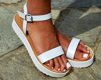 """Leather women Sandal shoes """"Aphrodite"""" , summer sandals, leather shoes,white sandals, white sole, white leather"""