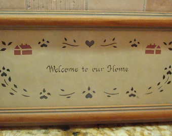 """Vintage """"Welcome to Our Home"""" Wall Hanging - Design With Scissors - Scherenschnitte Art - Circa 1986 - Excellent Vintage Condition!!"""