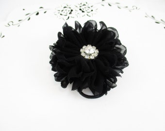 Black Flower Hair Tie, Chiffon Hair Clip, Flower Hair Tie, Black Hair Tie, Black Ponytail Elastic, Black Flower Hair Clip, Chiffon Flower