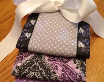 Set of 3 TCU paisley and polka dot burp cloths Baby Shower Gift- 3 Premium 6 Ply Diaper Burp Cloths