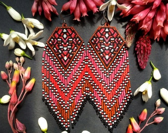 Tangiers..Beaded Fringe Earrings Native American Inspired