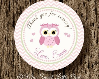 PInk owl sticker - owl tag - owl cupcake topper - owl birthday - pink owl printable - girl owl label - owl party - owl baby shower