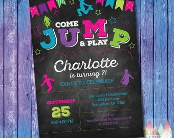 Jump Invitation. Jump Birthday Invitation. Jump Party Invitation. Trampoline Party Invitation. Trampoline Birthday Invitation.