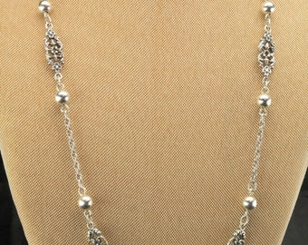 """Sterling Silver Rope Bead Necklace 30"""""""