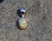 Very Colorful, Bright Fire Opal Pendant Hand Bezel Set In Sterling Silver, Solid Opal.  Ethiopian Welo Opal EFO7