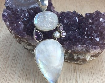 Moonstone Druzy Amethyst Sterling Silver Pendant Necklace