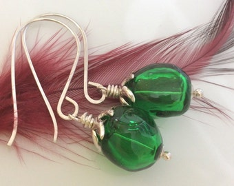 Green Earrings / Hollow Glass Earrings / Emerald Green Glass Earrings / Handblown Glass Earrings / Sterling Silver Earrings
