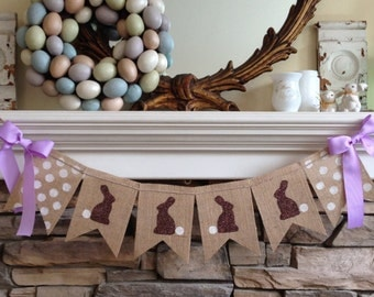 Burlap Easter Banner/Happy Easter Garland/Easter Bunny Banner/Spring Banner/Easter Decorations/Easter Bunting/Easter Photo Prop