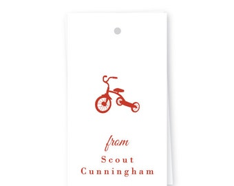 Personalized Birthday Gift Tags, Tricycle, Set of 10