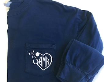 Nurse Monogram Shirt - Stethoscope Monogram - RN Gift- Comfort Colors -Long Sleeve T Shirt - Monogram Shirt -Nursing School Student Graduate