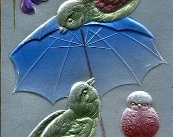 Happy Birthday Embossed Birds Umbrella 1908 Vintage Postcard