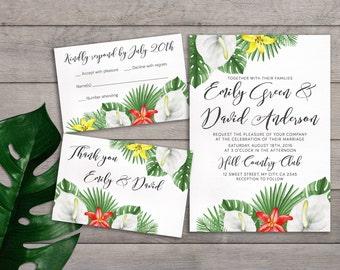 Modern wedding invitations for you Handmade hawaiian wedding