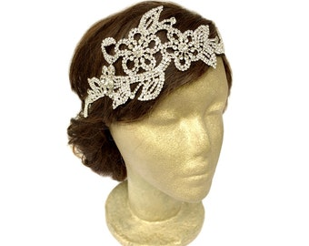 Rhinestone Headpiece Wedding, The Great Gatsby Flower Jewelry, 1920s Rhinestone Headband, Bridal Flower Headpiece, Vintage Wedding Jewelry