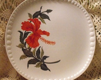 1940 Gray-Lure by Crooksville Hibiscus 10 Inch Dinner Plate