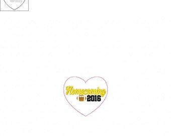 Homecoming 2016 Heart Feltie- In The Hoop - DIGITAL Embroidery Design