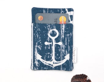 Anchor Minimalist wallet | Business card holder / Case / Slim wallet / Men and Women / Thin wallet / Blue White Nautical  / OOAK