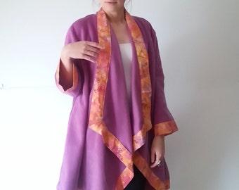 Womens Winter Coats Jackets, Womens Fleece Jacket, Winter Coat, Womens Coats, Small Womens Fleece Outerwear, Fuschia & Orange, Batik Apparel