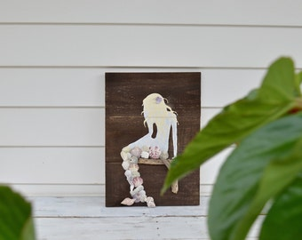 rustic wooden mermaid sign - purple -