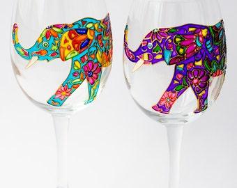 Elephant Wine Glasses Hand Painted, Wine glass for Bridesmaid Wedding Glasses, Bohemian Elephant, Toasting glasses