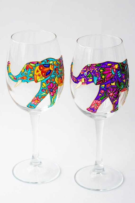 Elephant wine glasses hand painted wine glass for bridesmaid for How to make painted wine glasses