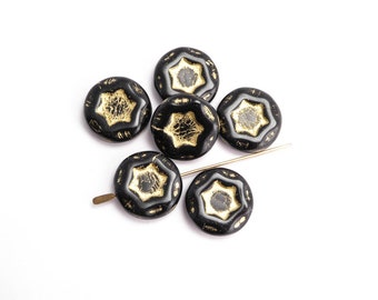 Black Star Coin Czech Glass Beads, (5 pcs) 17mm Black Coin Beads, Star Coin Beads, Czech Coin Beads, Czech Glass Coin Bead CON0105