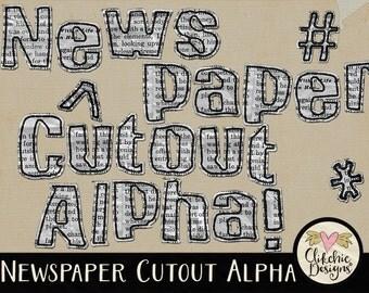 Newsprint Alpha Clip Art - News Paper Digital Scrapbook - News Print Cutout Alphabet Clipart, Digital Letters, Paper alpha