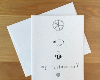 Pun Valentine Greeting Card - Will You Be (Wheel Ewe Bee) My Valentine