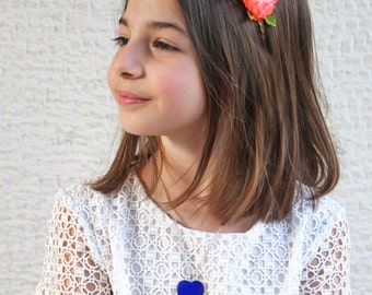 Blue heart necklace, kids jewelry, flower girl pendant, lapis blue resin necklace, blue heart charm, blue glass necklace, baby shower gift