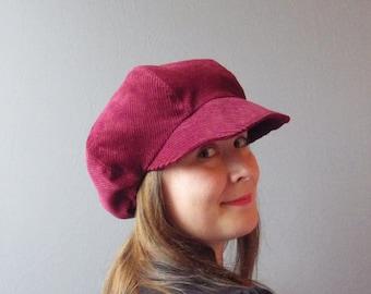 Burgundy Corduroy Cap Hat. Autumn Winter Warm Day Hat.