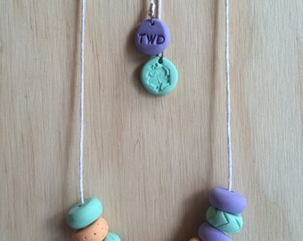 Handmade Mini Coin Polymer Clay Necklace - Double Scoop Ice Cream