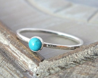 Sterling Silver Turquoise Stacking Ring, Turquoise Gemstone Ring, Silver Dainty Ring, Simple Silver Ring, Delicate Silver Ring